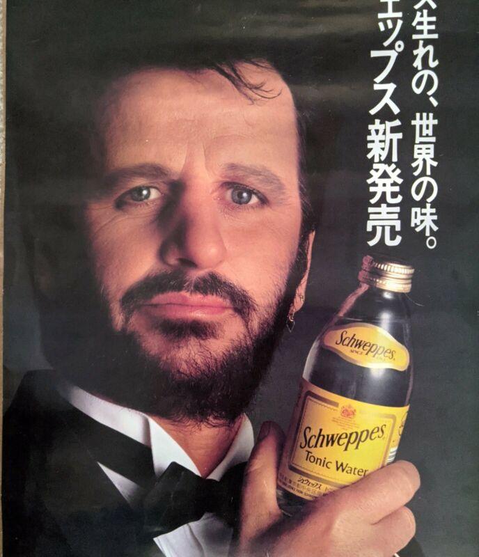 Ringo Starr Schweppes Advertising Vintage Japanese Poster 1985