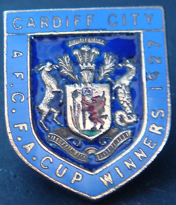 CARDIFF CITY Very rare vintage 1927 FA CUP WINNERS Badge Altered pin 23mm x 27mm