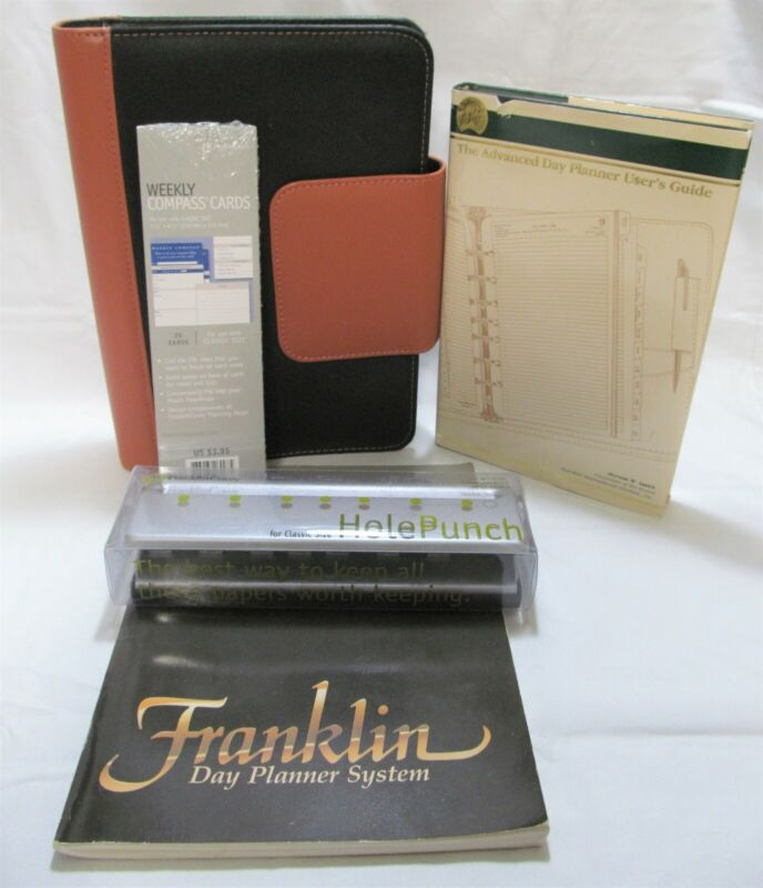 Franklin Day Planner Classic Binder & Accessories Advanced Guidebook Hole Punch