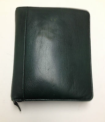 Franklin Covey Classic Leather Green  Zip Around Planner w/ Pockets Pen Holder