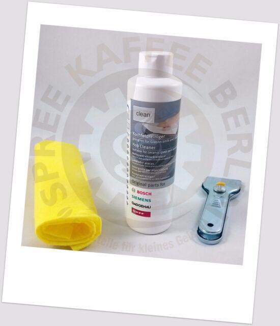 BSH Kochfeldreiniger 3-teilig geeignet für Glaskeramik und Edelstahl