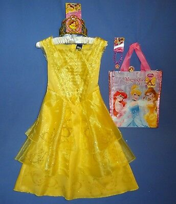Disney Belle costume dress girls 4-6X-7-8-NWT Tiara-Bracelet-Ring-Tote Bag-LOT-5 (Ring Girl Costume)