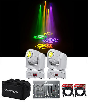 2) American DJ ADJ Inno Pocket Spot Pearl DMX Moving Heads+Bag+Controller+Cables
