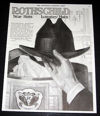 1919 OLD MAGAZINE PRINT AD, ROTHSCHILD HAT CO. GENTLEMAN'S STAR & LONGLEY HATS!