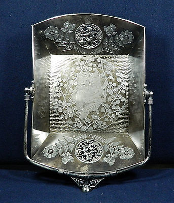 "VICTORIAN MERIDEN QUAD-SILVER PLATE ""FILAGREED CEREBS & CAT CAMEO"" CAKE BASKET"