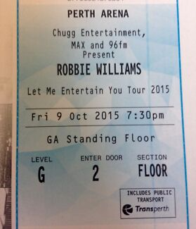 Robbie Williams Perth Concert Tickets 9/10 North Perth Vincent Area Preview