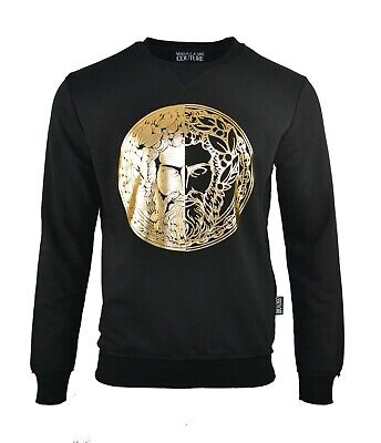 VERSACE JEANS COUTURE CORRODED GOLD FOIL ADRIANO GREEK GOD HEAD LOGO SWEATSHIRT
