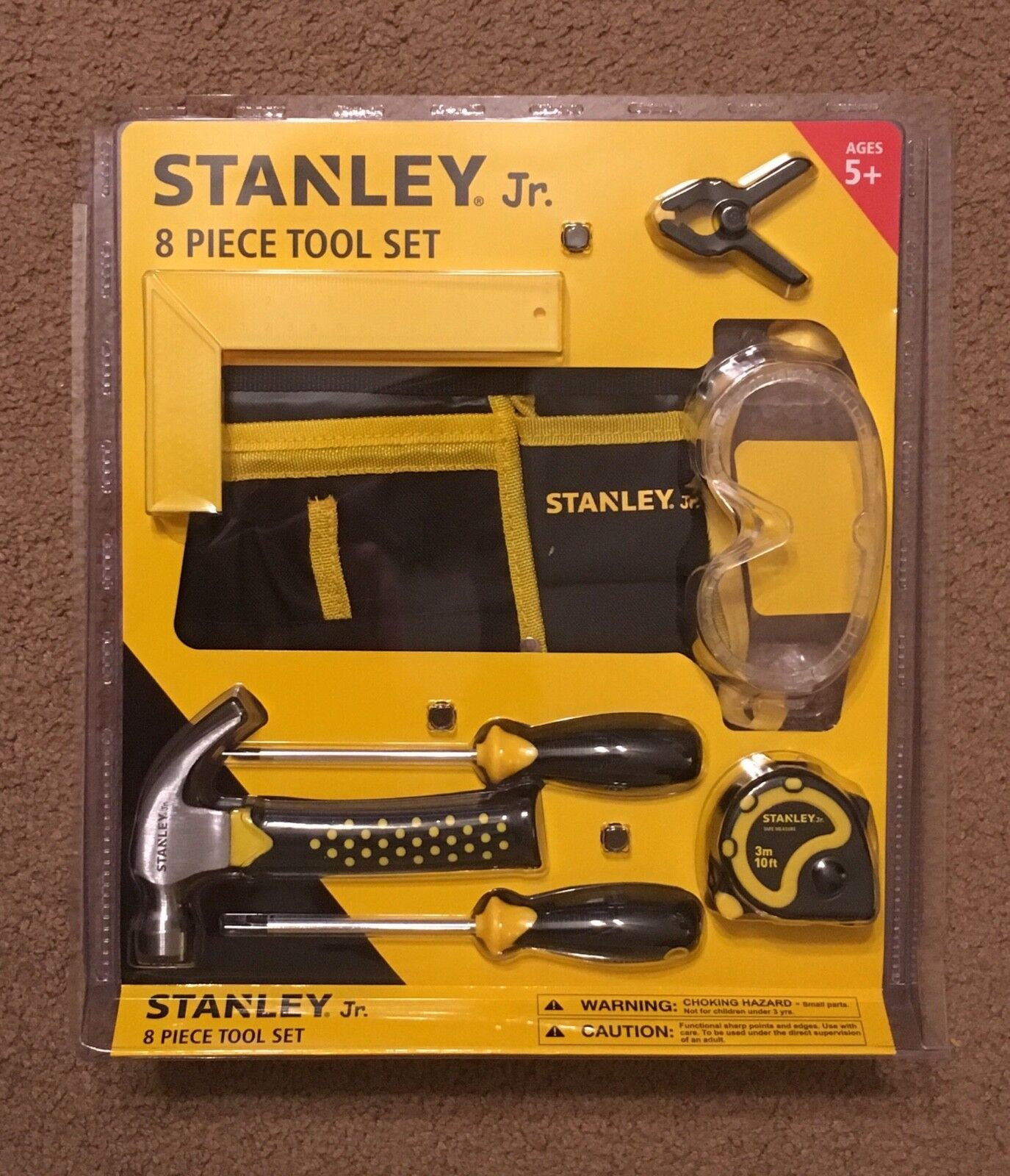 Stanley Jr 8 Piece Tool Set Kids Hammer Screwdriver Tool Bel