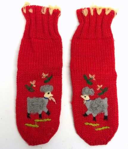 Vintage 50s Embroidered Wool Toddler Socks Knit Red Baby Lamb Sheep Novelty