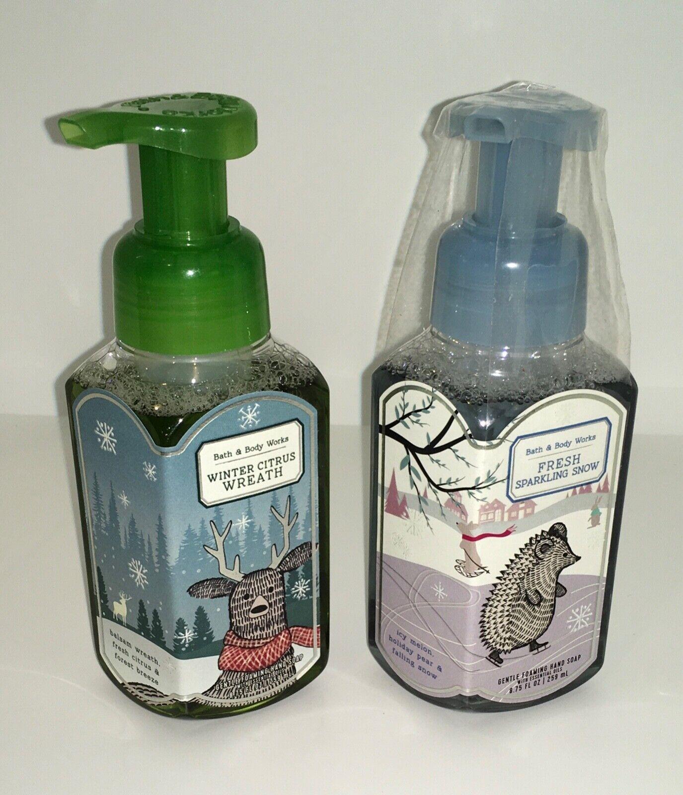 2 Bath Body Works Foaming Soap WINTER CITRUS WREATH FRESH SPARKLING SNOW - $13.88