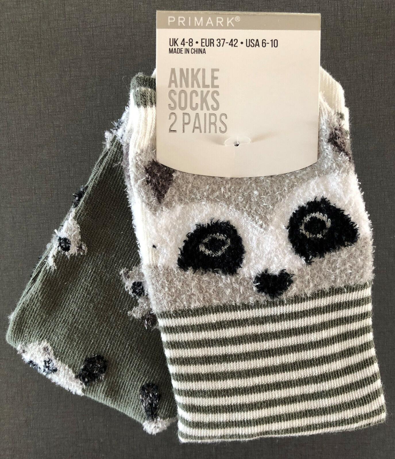 2 Paar Waschbär Damen Socken Set Strümpfe Lustig Bunt Tiere Racoon 37-42 Primark