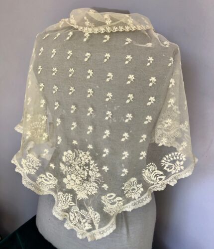 Large Victorian  triangular embroidered net lace shawl.  COSTUME