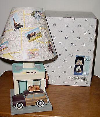 MOTEL LAMP TABLE LIGHT Roadside Route 66 Postcard Shade W/ Woody Wagon FIGI (Woodies Light Shades)