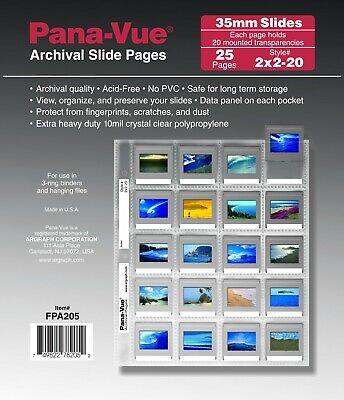 Slide Sheets - Pana-Vue 2x2-20B PK/25 35mm Slide Pages Archival Storage Sheets for 20 Slides