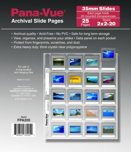 Pana-Vue 2x2-20B PK/25 35mm Slide Pages Archival Storage Sheets for 20 Slides