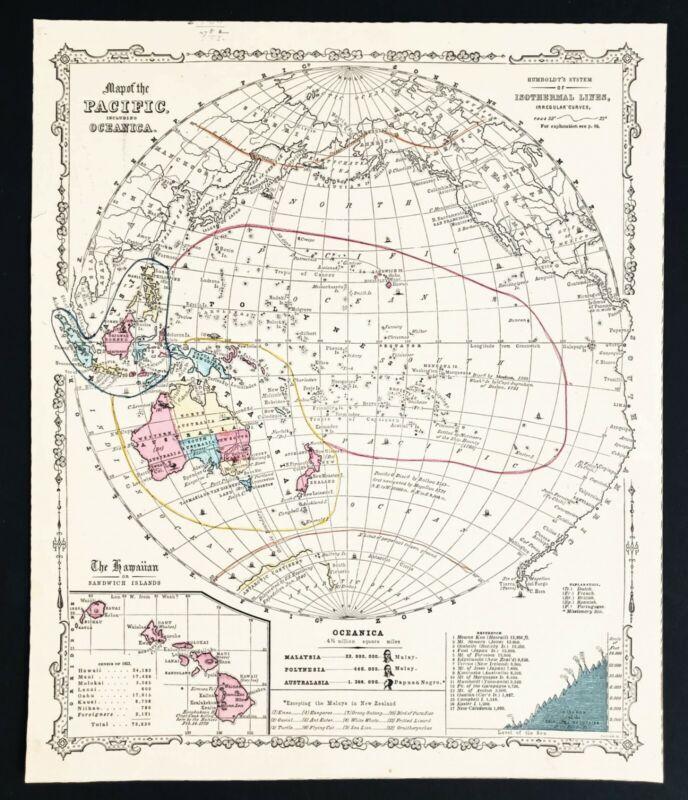 1860 Oceanica Map Hawaii New Zealand Philippines Borneo Globular View ORIGINAL