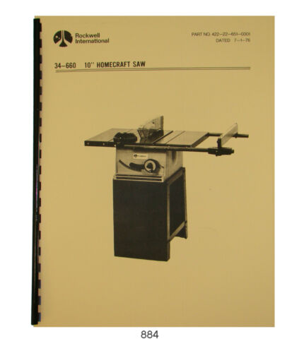 "Rockwell 10"" Homecraft Table Saw 34-660 & 34-659 Operator & Parts Manual #884"