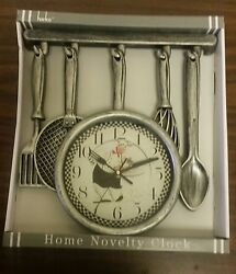 Rare Fat Chef Kitchen Wall Clock, approx 13 x 13, Chef with Tray, silver color