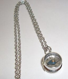 Working compass pendant ebay sterling silver mini locket w nautical working compass pendant charm necklace aloadofball Choice Image