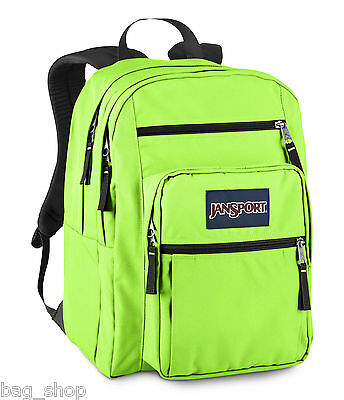 Jansport BIG STUDENT Large Backpack Neon Green Pink Red Zebra Blue ...