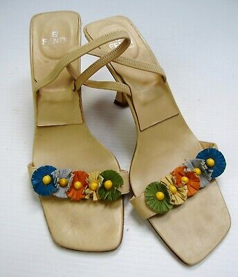 FENDI Women's Square Toe Slingback Yellow Leather Floral size 8.5M Shoes Summer