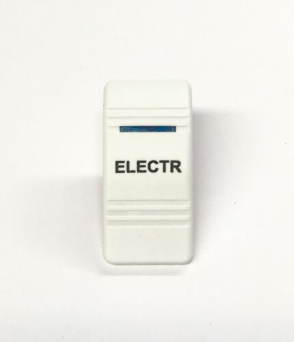 Euro Rocker Switch Cover- ELECTR. White with Blue Lens. Contura III. Fits Car...