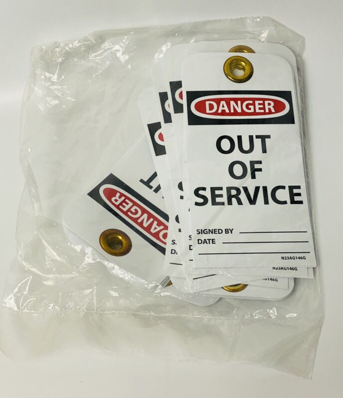 "25 Pcs Danger ""Out of Service""  Plastic Safety Tag With Metal Grommet"