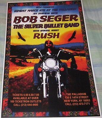 BOB SEGER & RUSH 1977 PALLADIUM REPLICA CONCERT POSTER W/PROTECTIVE SLEEVE