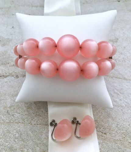 Vintage Pink Moonglow Lucite Bead Bracelet Cuff, Earrings Set, Memory Wire