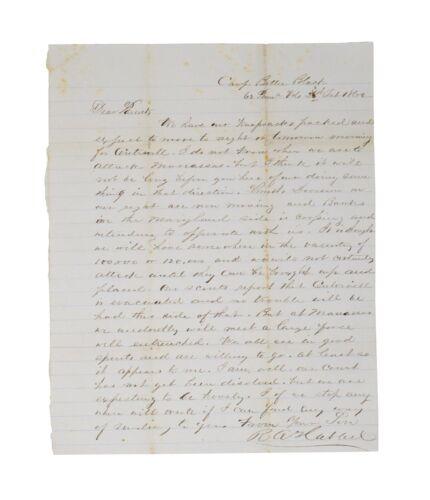 1862 Civil War Letter - 14th New York Moves Toward Centreville & Manassas