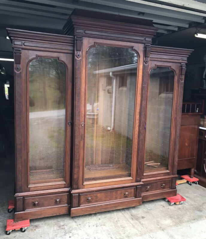 VICTORIAN TRIPLE WALNUT AND BURL LARGE BOOKCASE