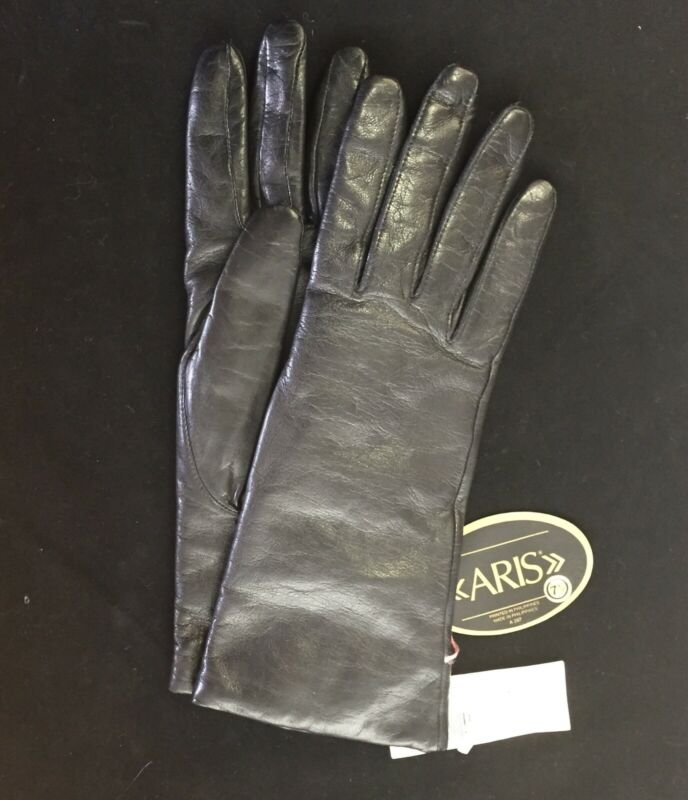NWT Vintage Ladies Lined Black Leather Aris Gloves Size 7½ - Woodward & Lothrop