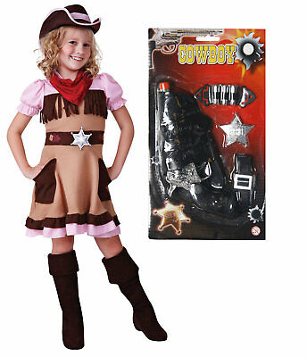 Cowgirl Girls Kids Childrens Woody Costume Outfit Fancy Dress with GUN Age 4 - 9