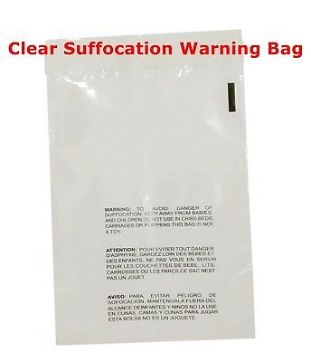100 10x13 Self Seal Suffocation Warning Clear Poly Bags 1.5 Mil Free Shipping