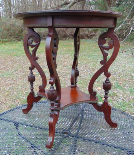 Victorian Carved Mahogany Parlor Occasional Fern Table Brass Trim