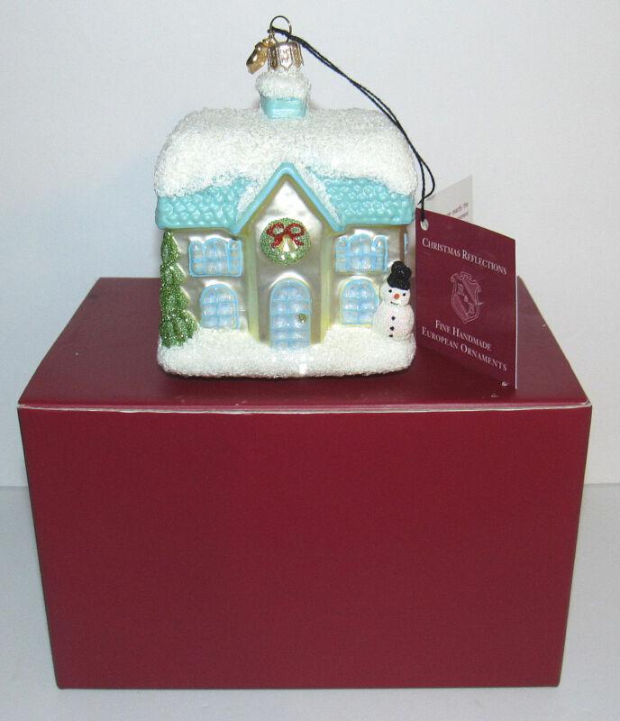 Reed & Barton Sugar Snow Village Cottage Glass Ornament C4285