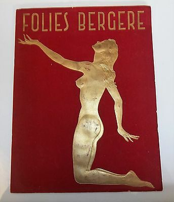 Folies Bergere VIntage Art Deco Velvet and Gold Program French Nightclub