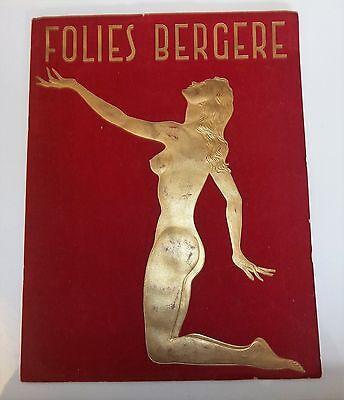 Folies Bergere VIntage Art Deco Velvet and Gold Program French Nightclub