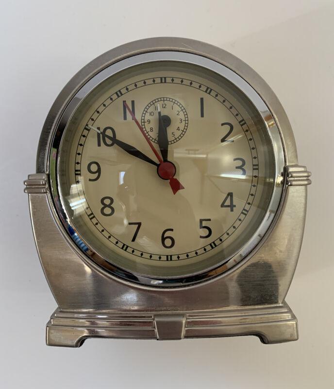 Vintage Metal Pottery Barn Quartz Silver Desk Shelf Mantel Clock Works Great