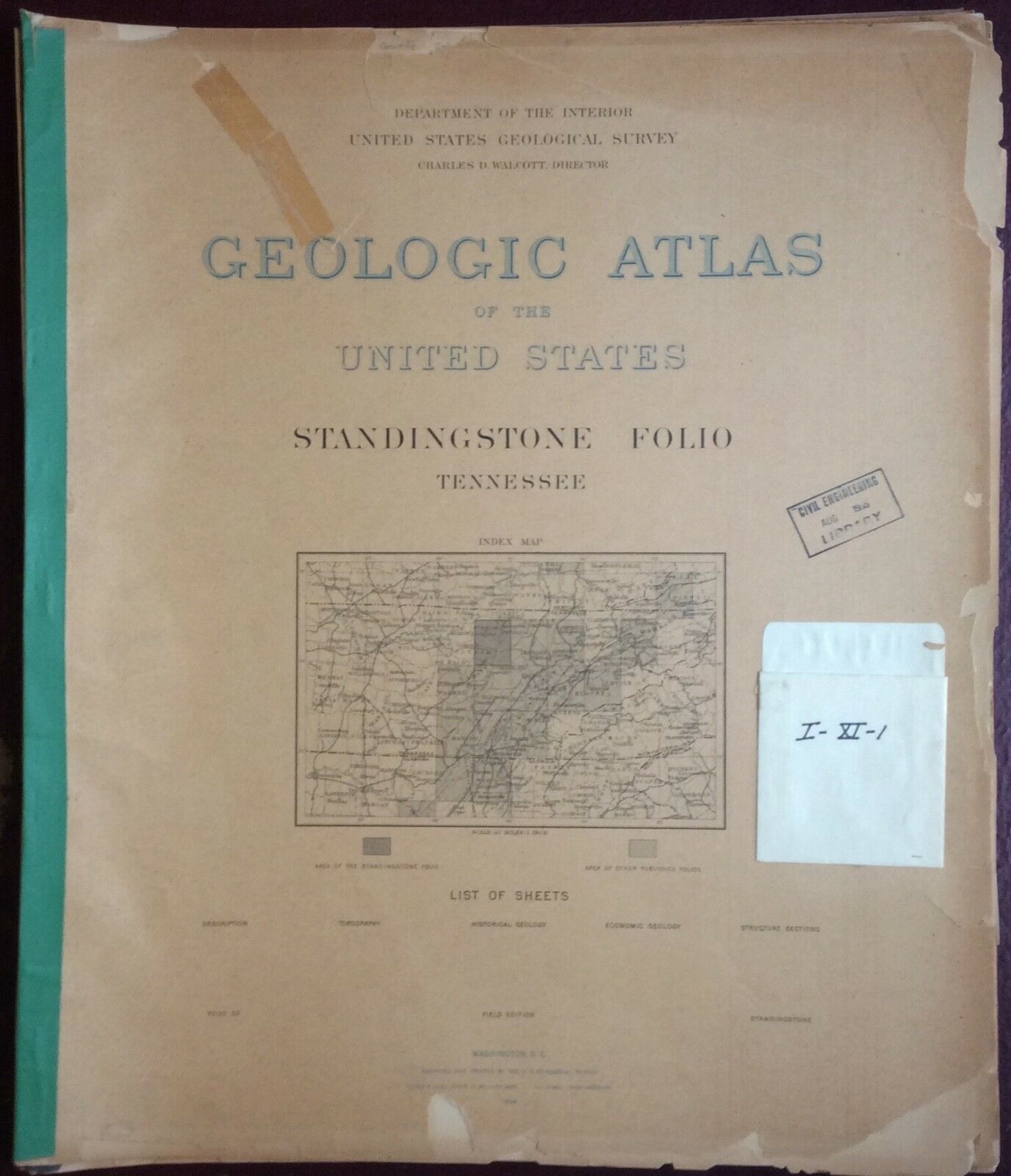 Tennessee 1890 StandingStone Folio 53 USGS Field Edition Atlas - $10.00