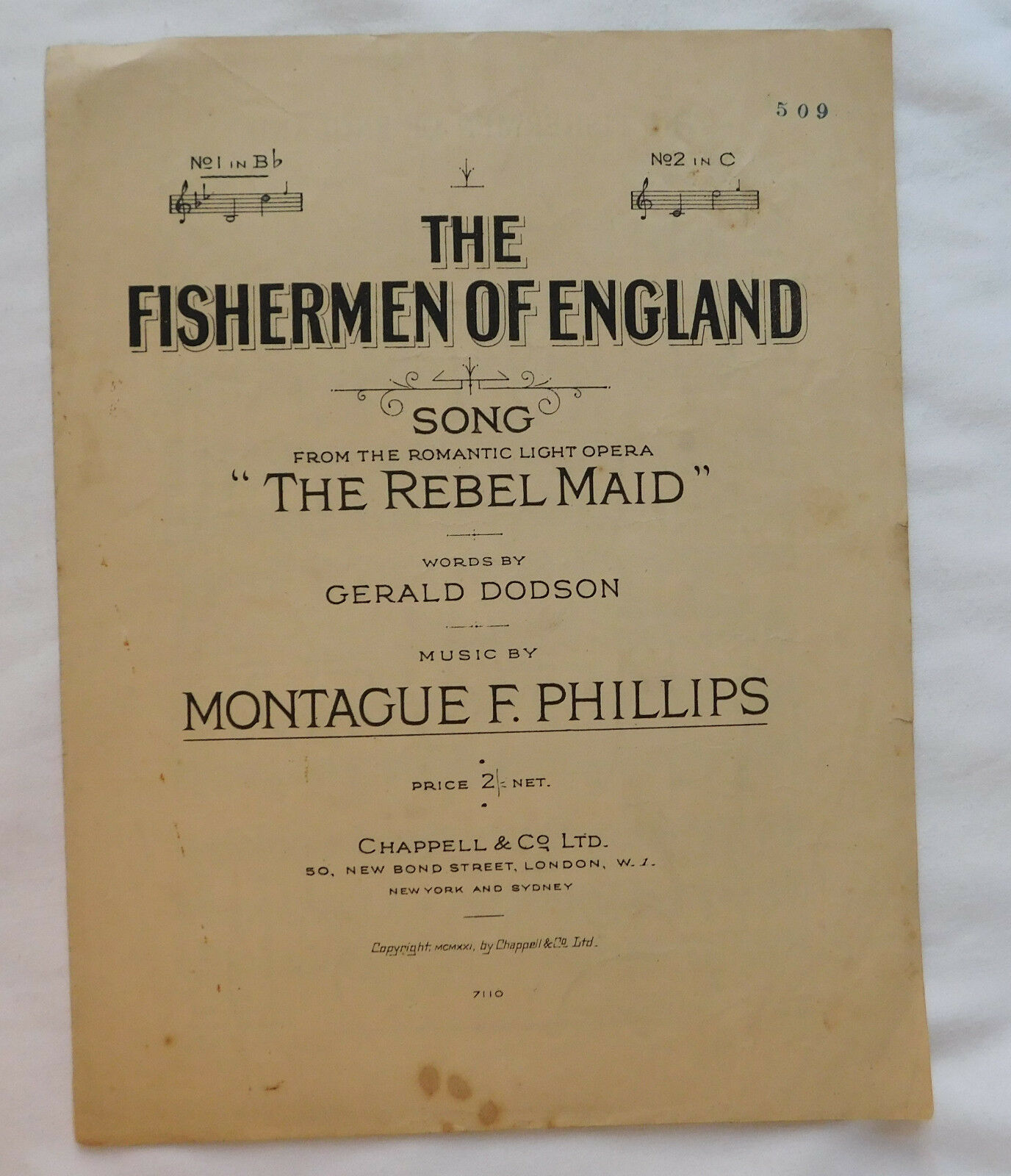 The Fishermen of England 1920s song Rebel Maid light opera vintage sheet music
