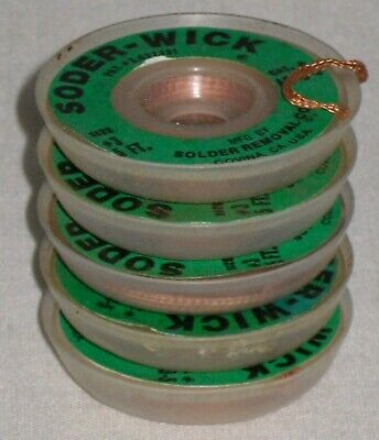 25 Ft. 3 Soder Wick Vintage Solder Removal Company Covina Ca 5 Spools Lot