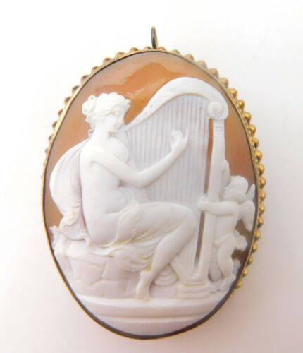 Genuine Natural Shell Cameo Pin / Pendant with Woman Harp Angel (#J3821)