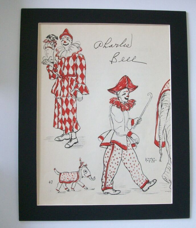 Famous Clown Print Charles Bell Gladys Emerson Cook Bookplate 1956 Matted 8x10