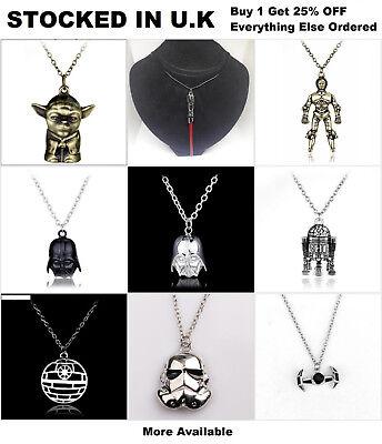 Star Wars Pendant Necklace Jewellery Death Star Darth Vader Stormtrooper Yoda