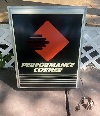 Vintage Performance Corner Double Sided Light Up Box Sign Auto Man Cave Works