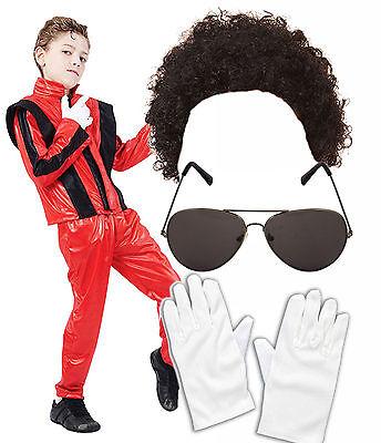 Michael Jackson Kid (Boys Kids Childs Michael Jackson Jacko 80s Superstar Fancy Dress Costume)