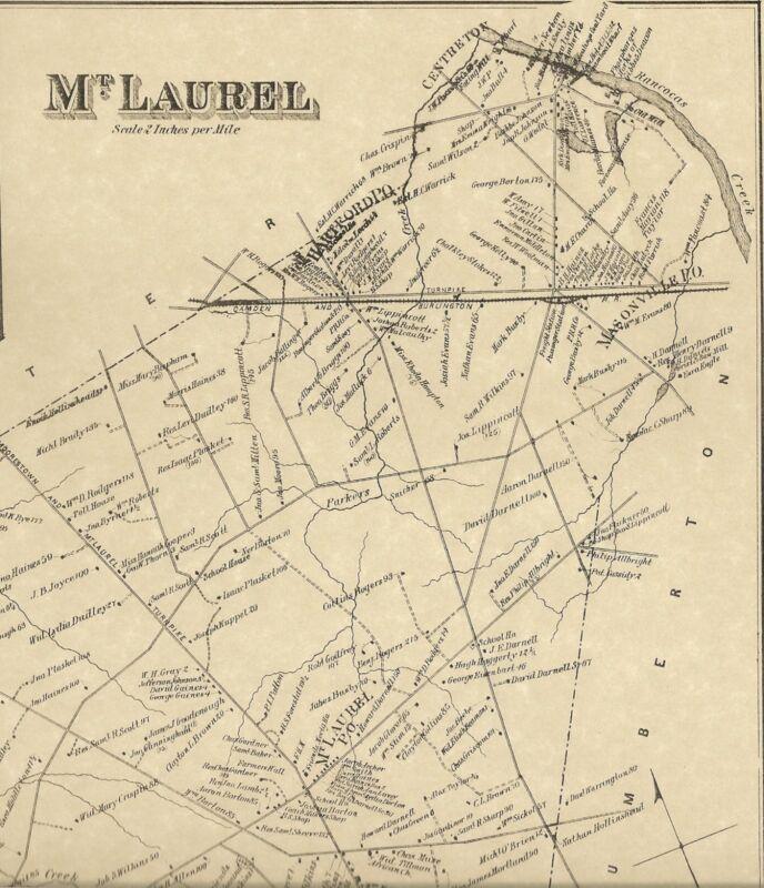 Mt Laurel Ramblewood Hartford Masonville NJ 1876 Map Homeowners Names Shown