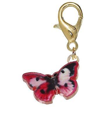 Butterfly Pink Red Black Enamel Gold Lobster Clip Dangle Charm for Bracelets