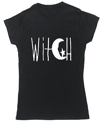 Witch Crescent Moon and Star Design t-shirt fitted short sleeve womens Design Womens Fitted T-shirt